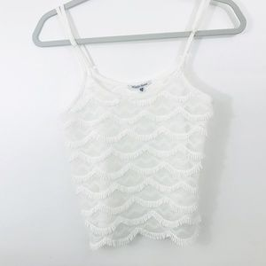 Wildfox Swim Top XS White Fringe